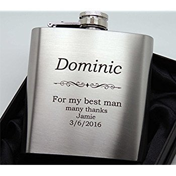 Engraved Stainless Steel 6oz Hip Flask with Funnel - Free Engraving