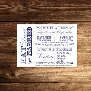 Vintage Fayre Blue on White Card - A6 Evening Invitation