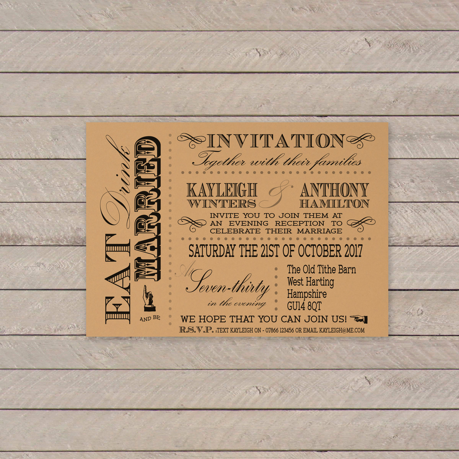 Vintage Fayre Black on Buff Card - A6 Evening Invitation