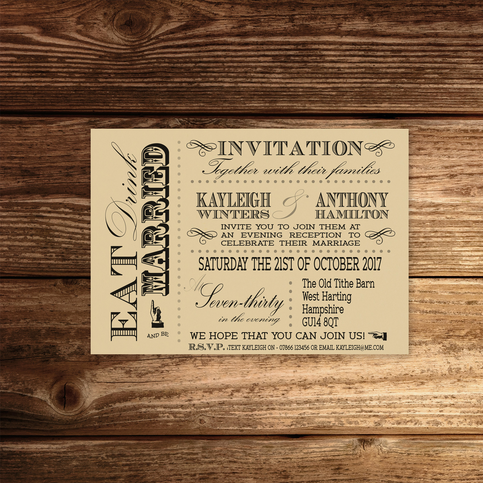 Vintage Fayre on Ivory Card - A6 Evening Invitation