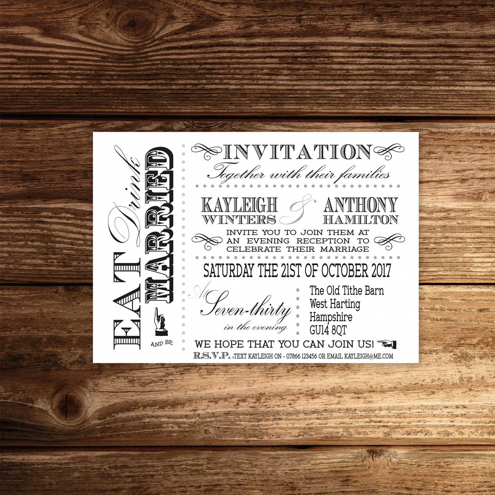 Vintage Fayre Black on White Card - A6 Evening Invitation