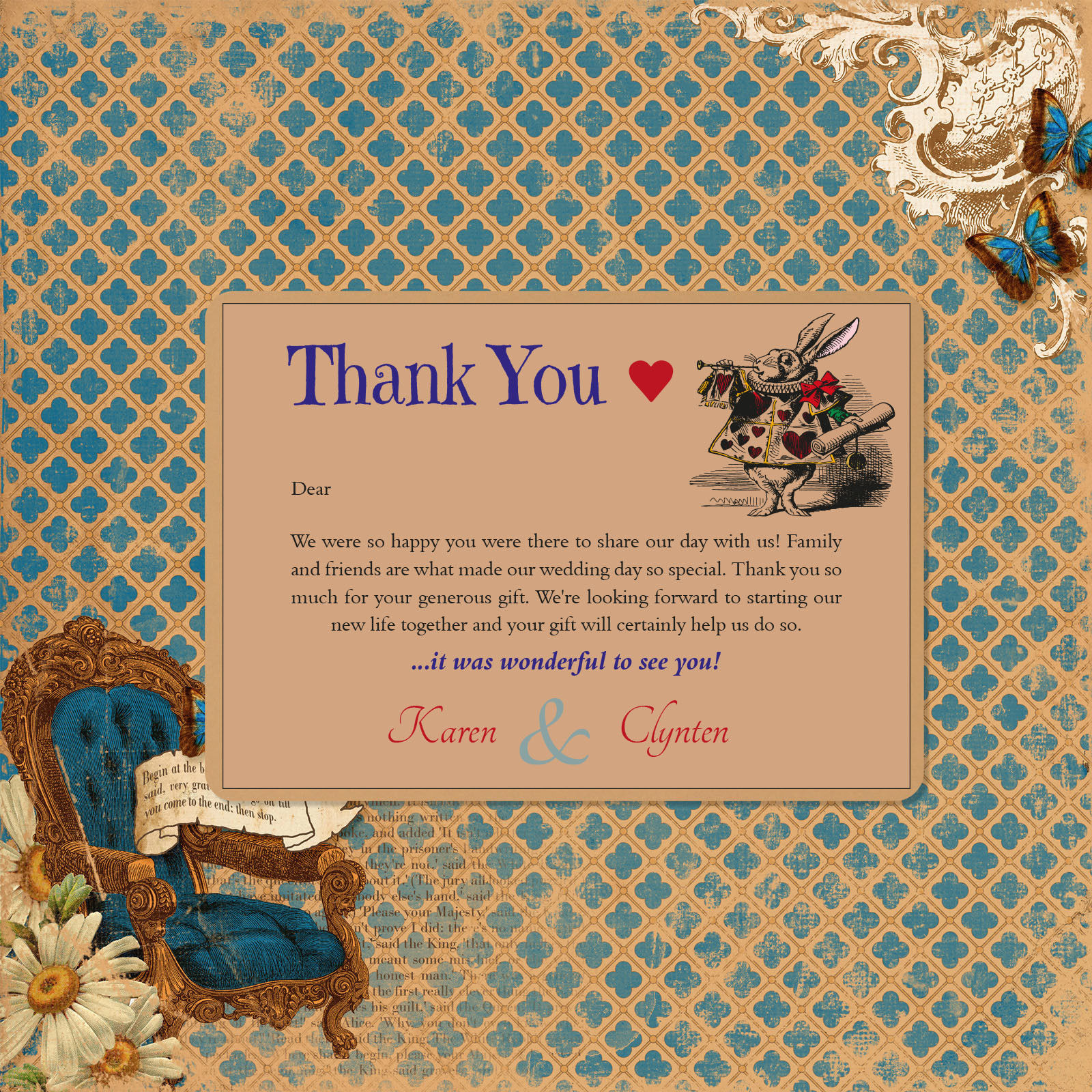 Vintage Alice on Buff Card - Thank You Cards