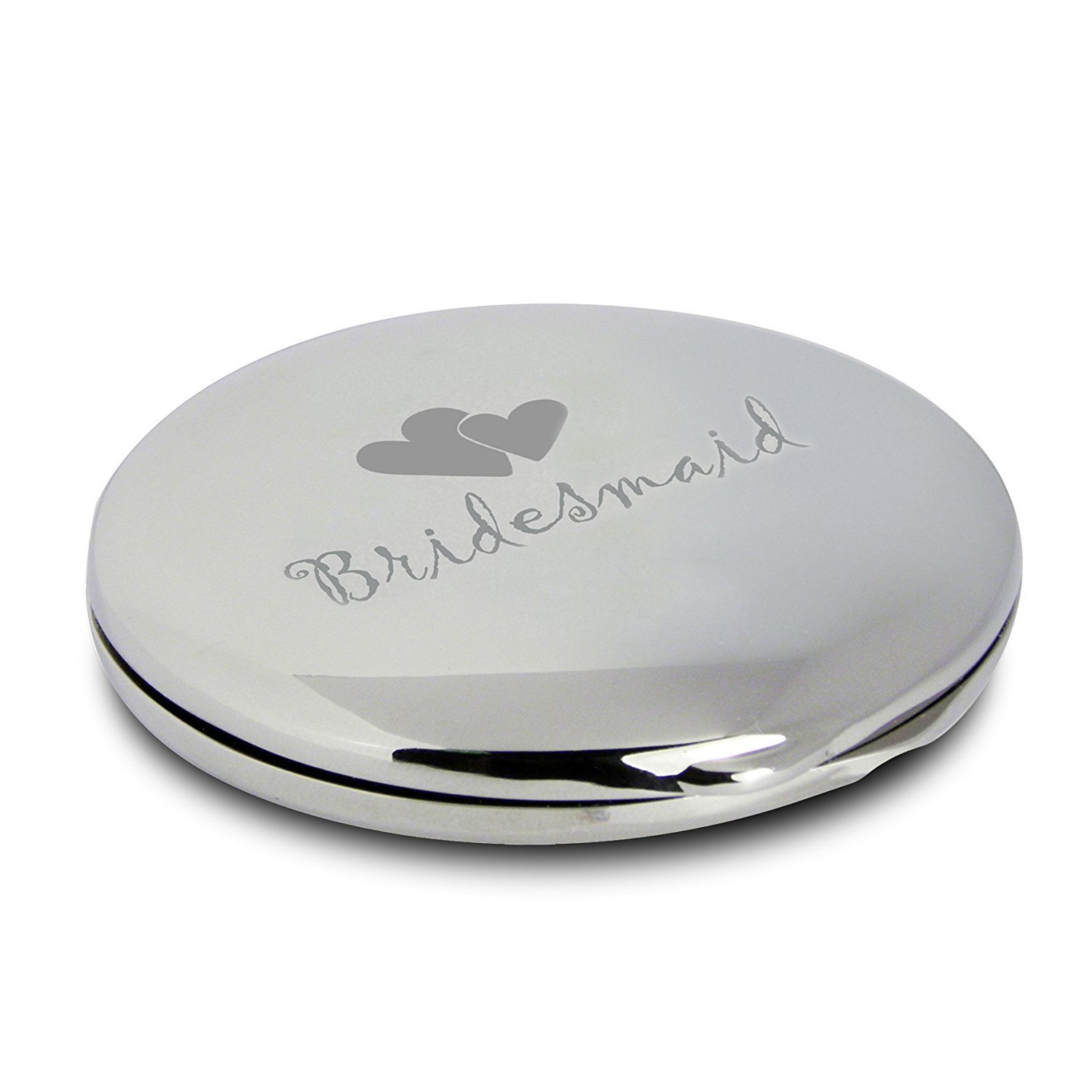 Silver Finish Engraved Bridesmaid Round Compact Mirror