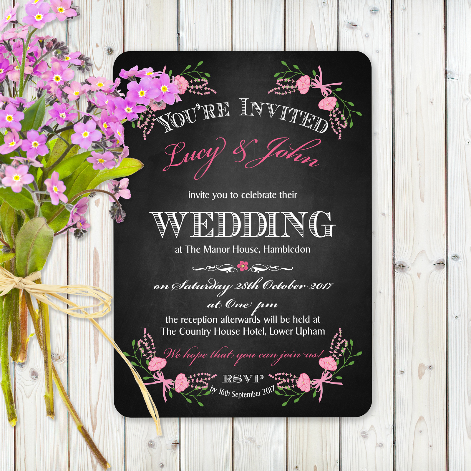Floral Fantasy Pink on Chalkboard - Day Invitation