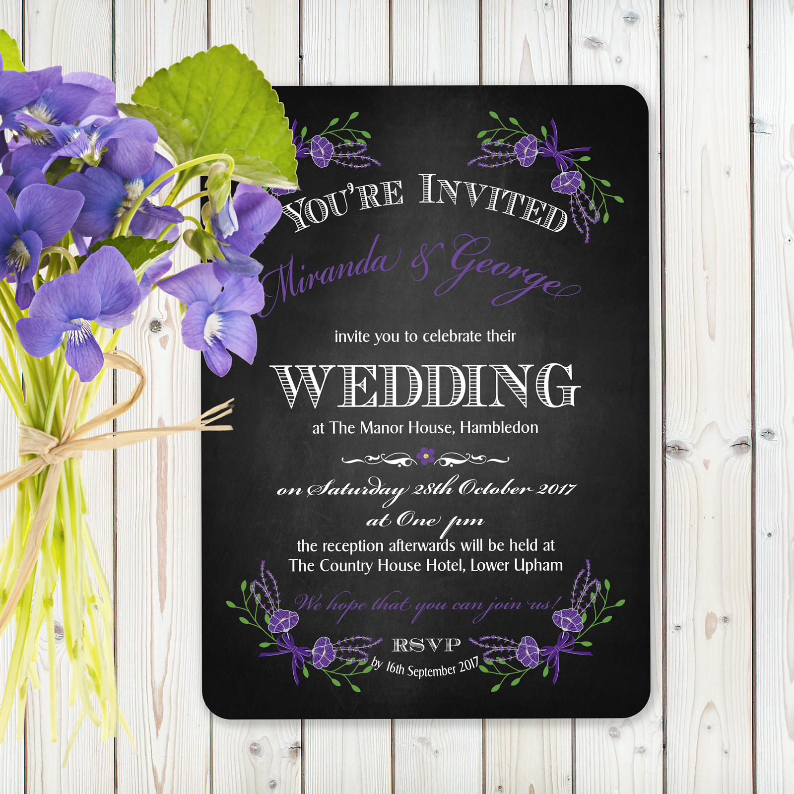 Floral Fantasy Purple on Chalkboard - Day Invitation