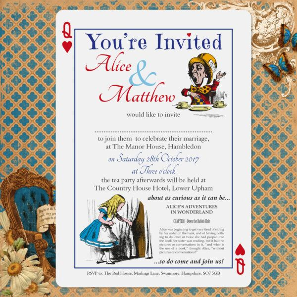 Vintage Alice on White Card - Day Invitation