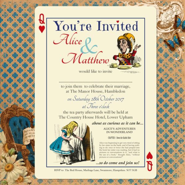 Vintage Alice on Ivory Card - Day Invitation