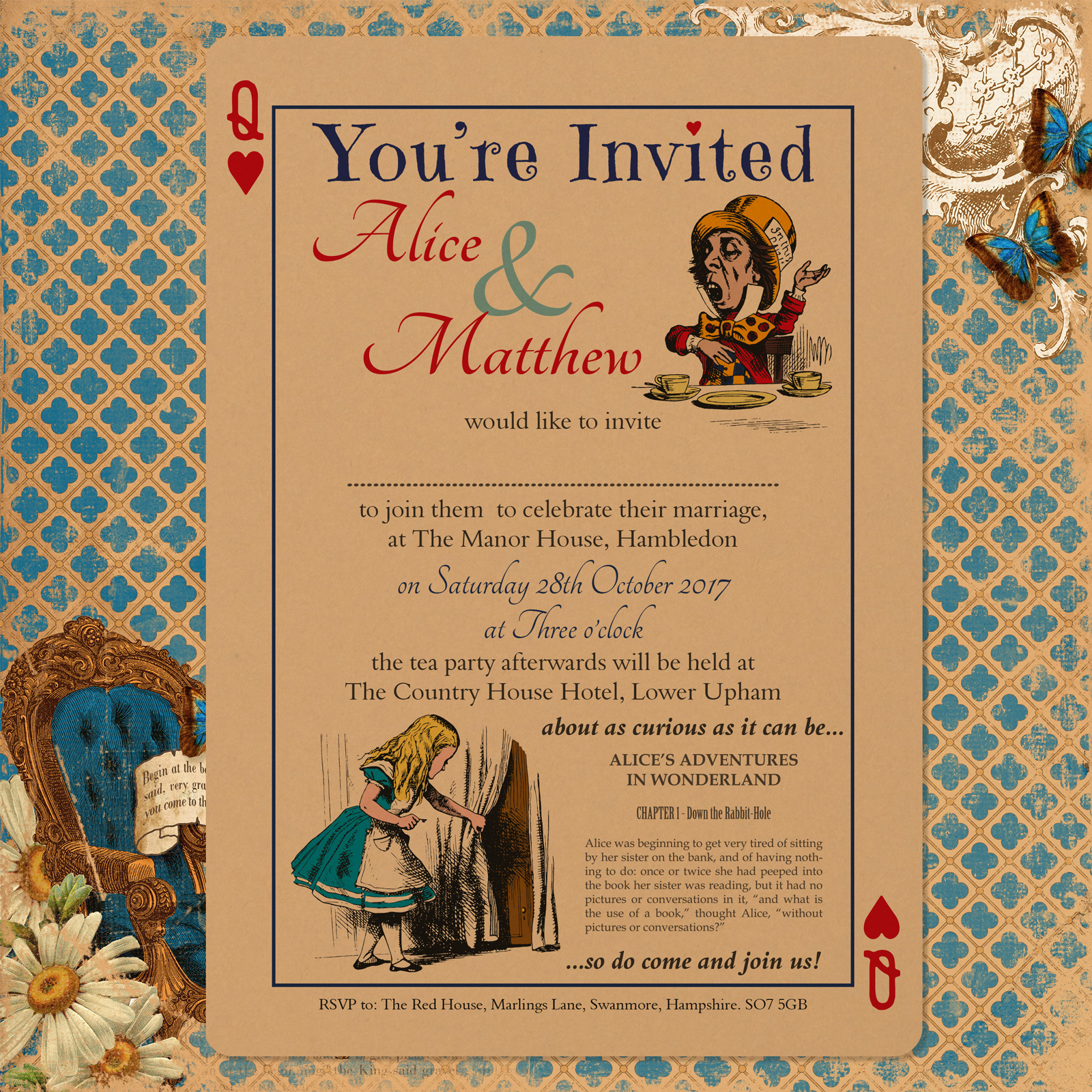 Vintage Alice on Buff Card - Day Invitation