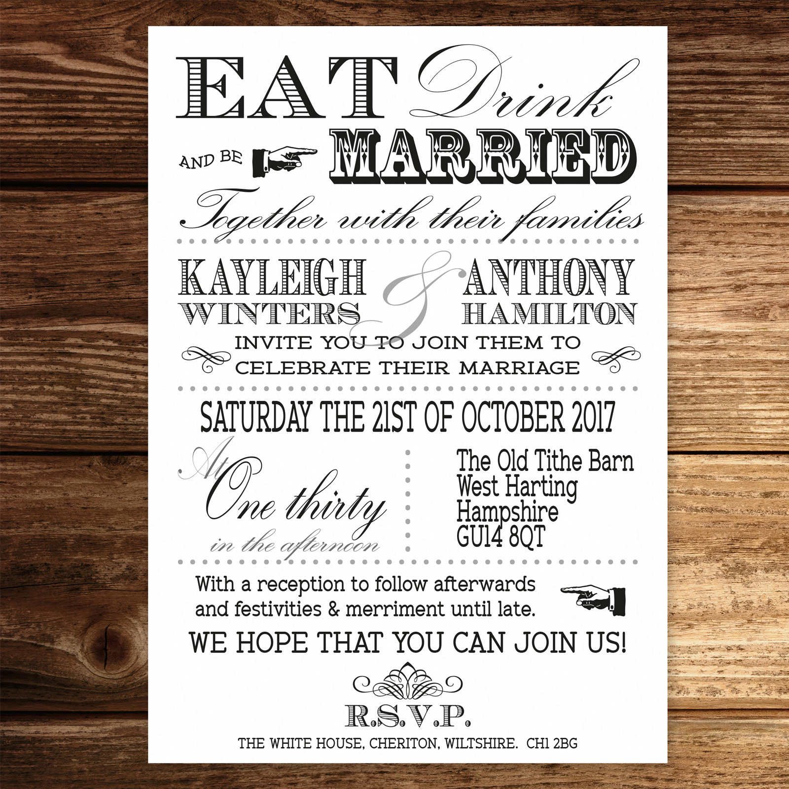 Vintage Fayre Black on White Card - Day Invitation