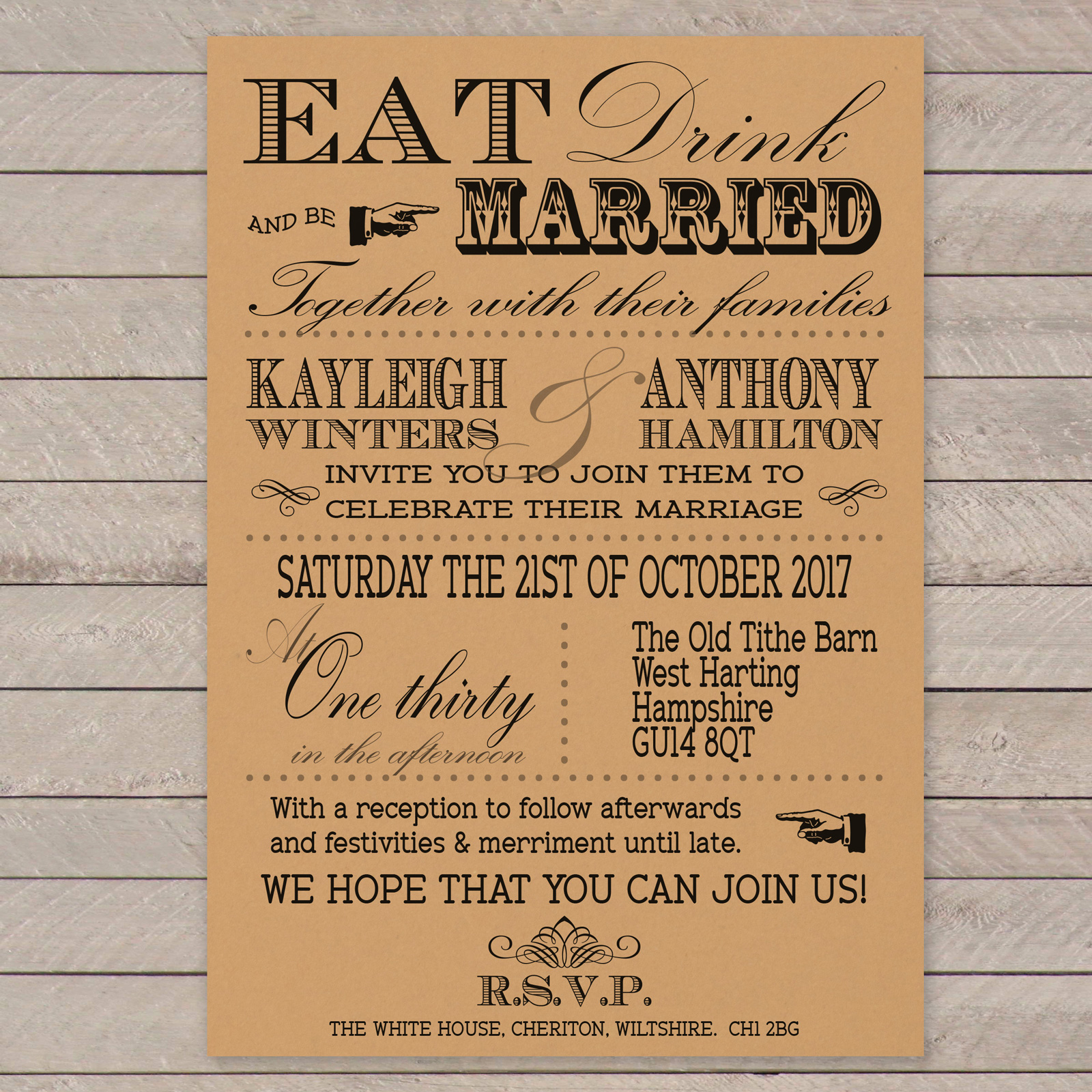Vintage Fayre Black on Buff Card - Day Invitation