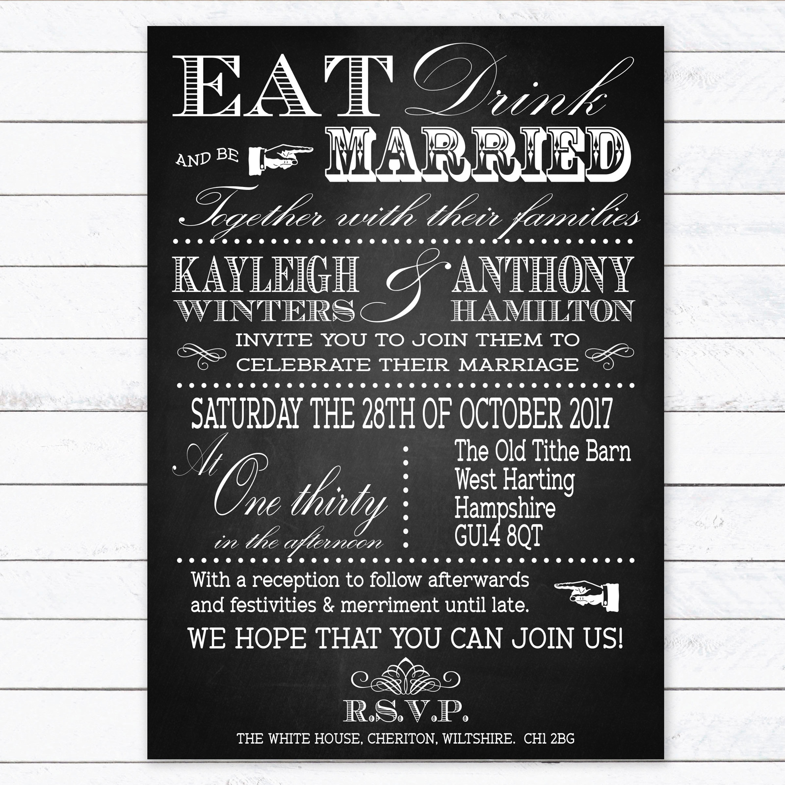 Vintage Fayre on Chalkboard - Day Invitation