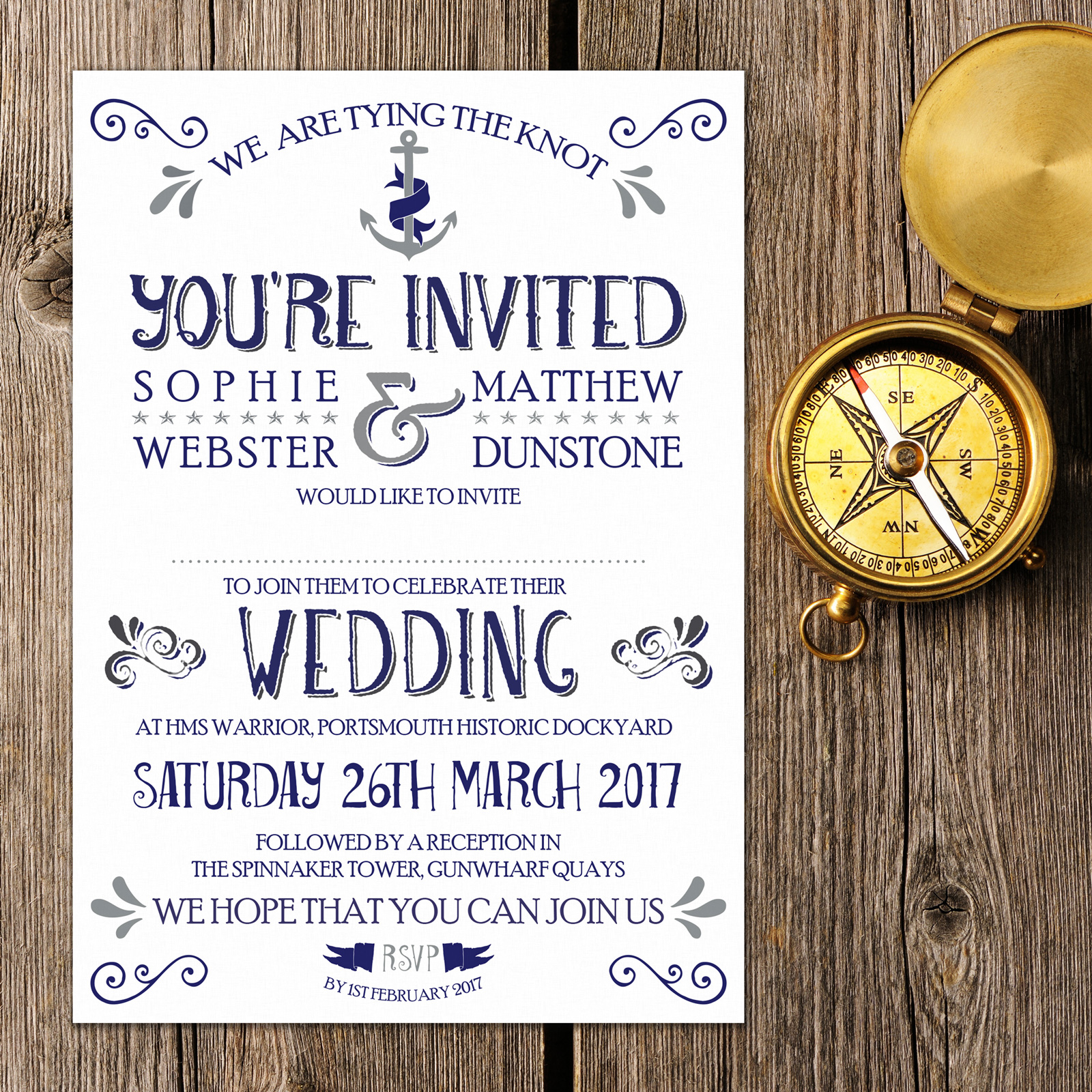 Nautical Blue and Silver on White Card - Day Invitation