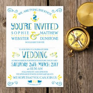 Nautical Blue and Yellow on White Card - Day Invitation