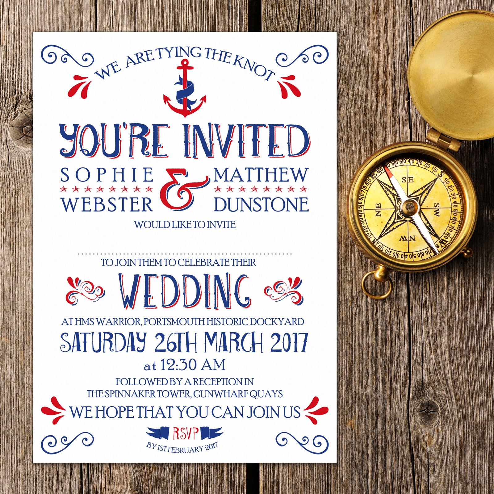 Nautical Blue and Red on White Card - Day Invitation
