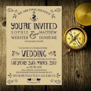 Nautical Blue and Silver on Ivory Card - Day Invitation