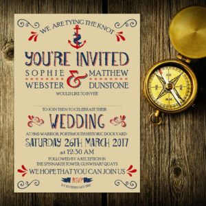 Nautical Blue and Red on Ivory Card - Day Invitation