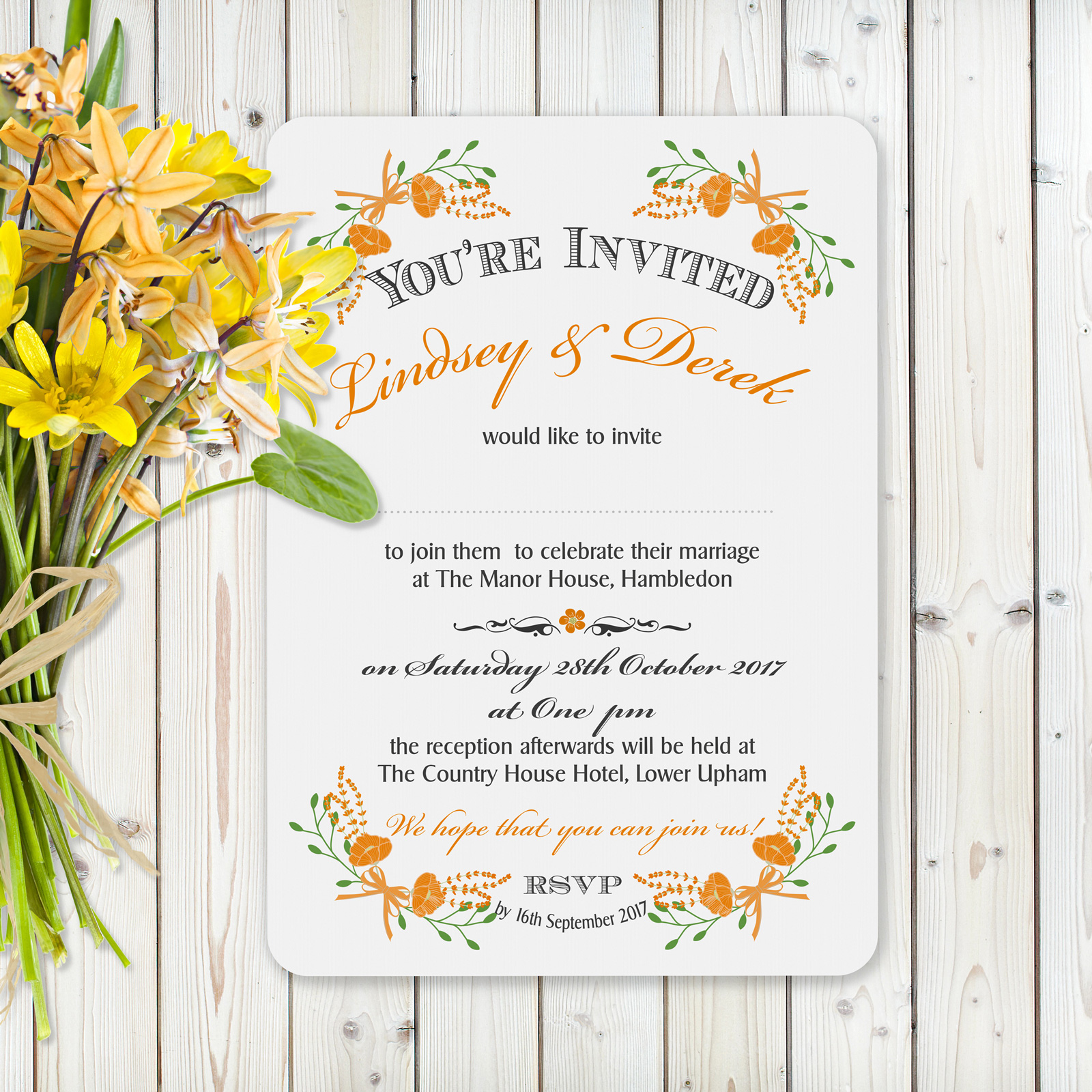 Floral Fantasy Orange on White Card - Day Invitation