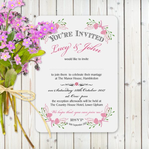 Floral Fantasy Pink on White Card - Day Invitation