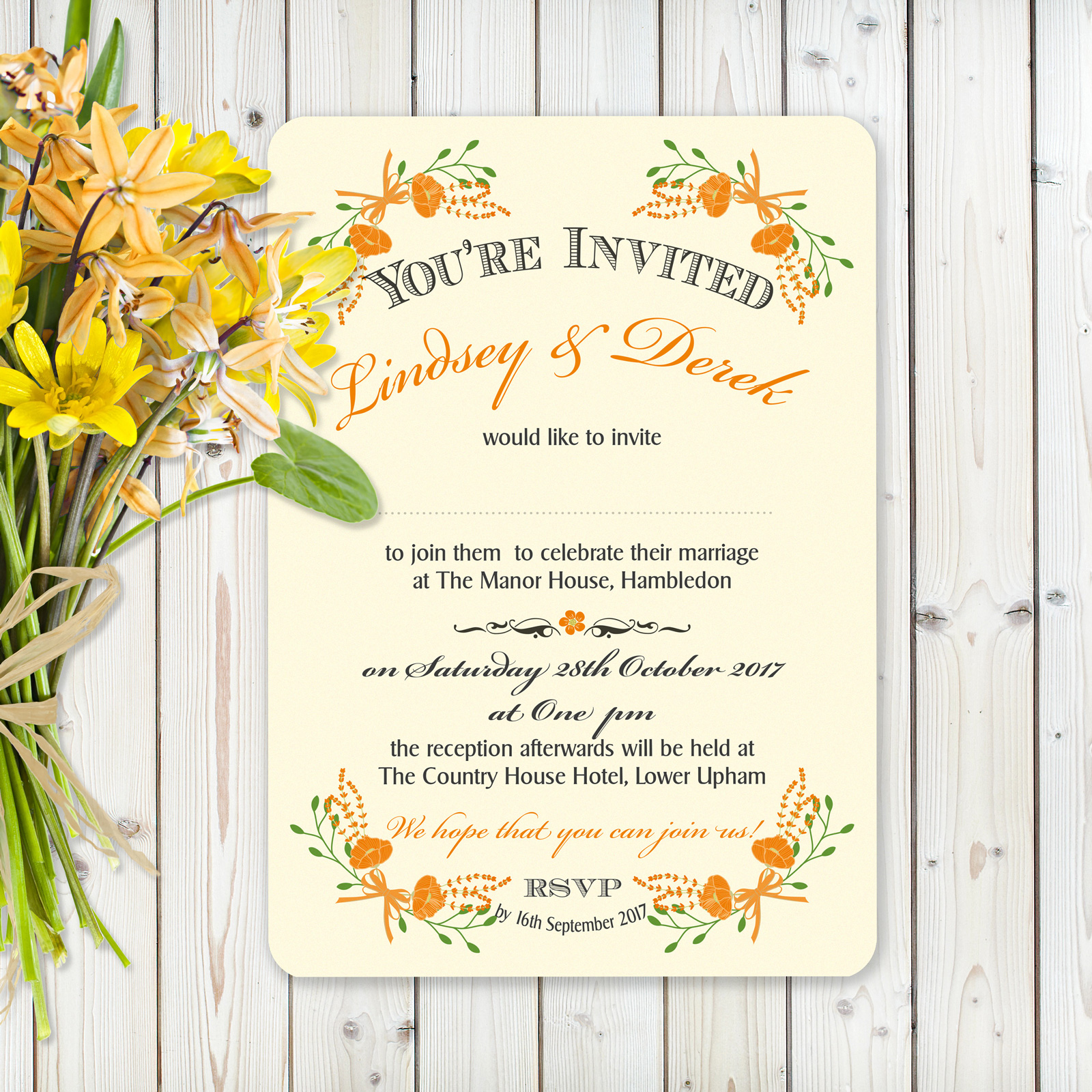 Floral Fantasy Orange on Ivory Card - Day Invitation