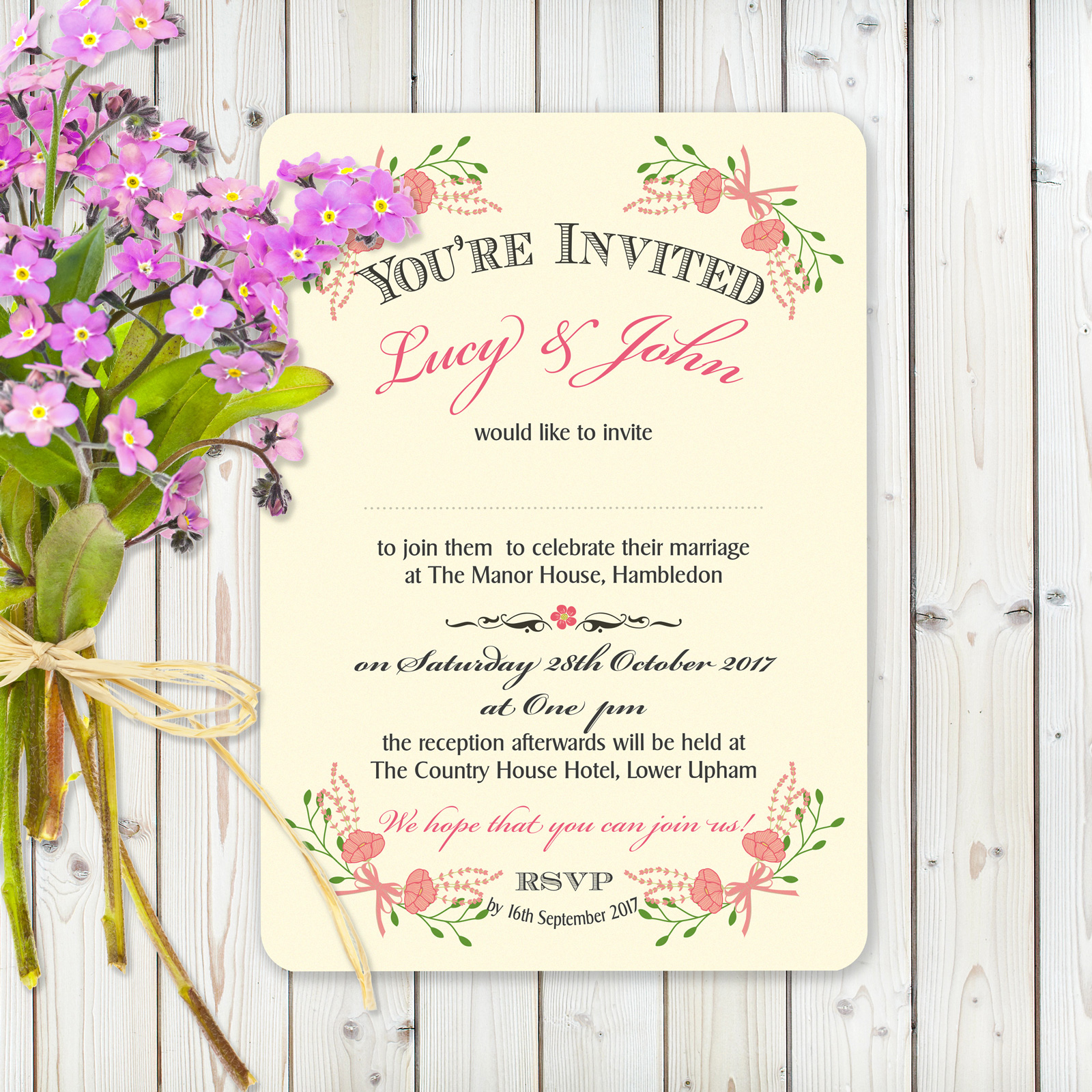Floral Fantasy Pink on Ivory Card - Day Invitation