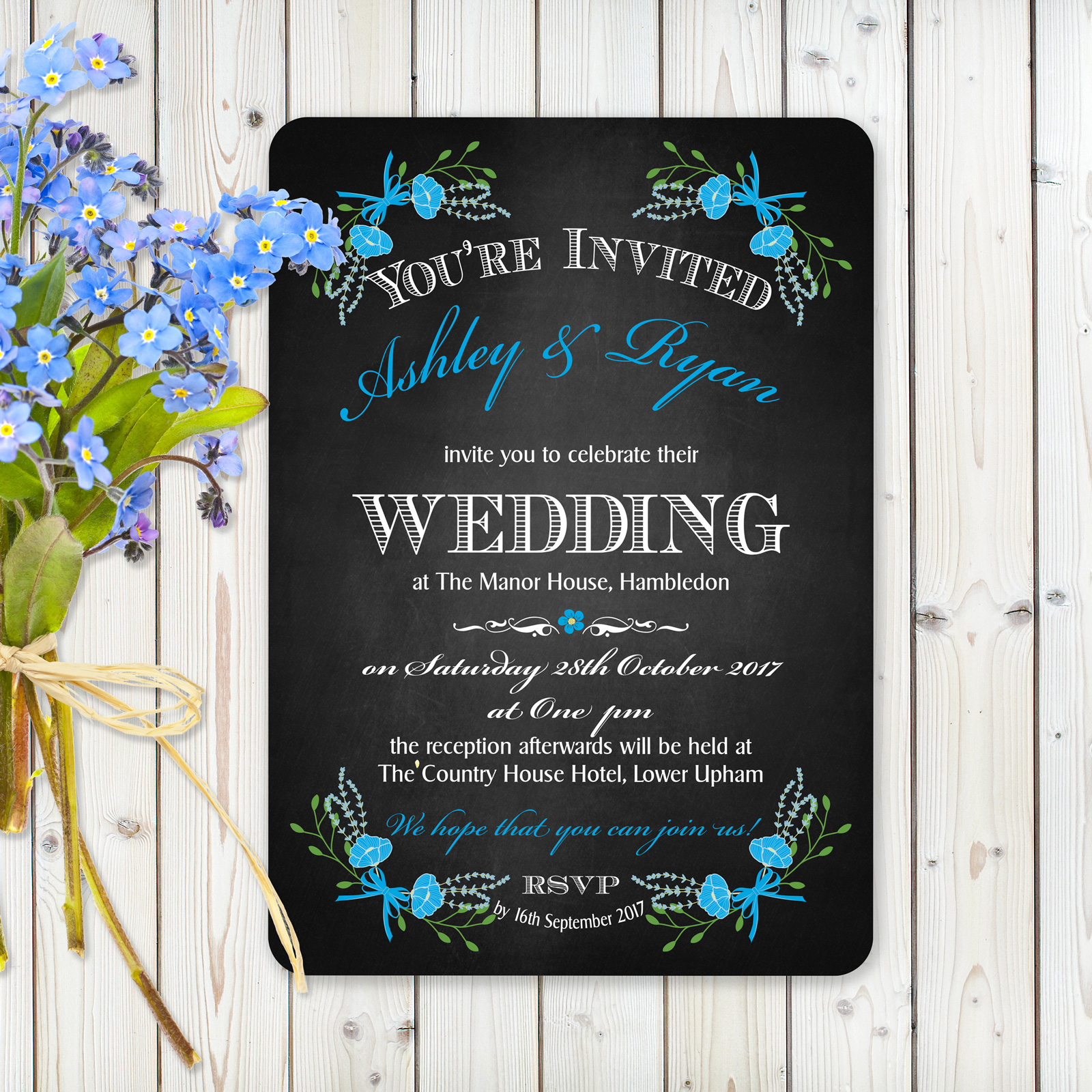 Floral Fantasy Blue on Chalkboard - Day Invitation