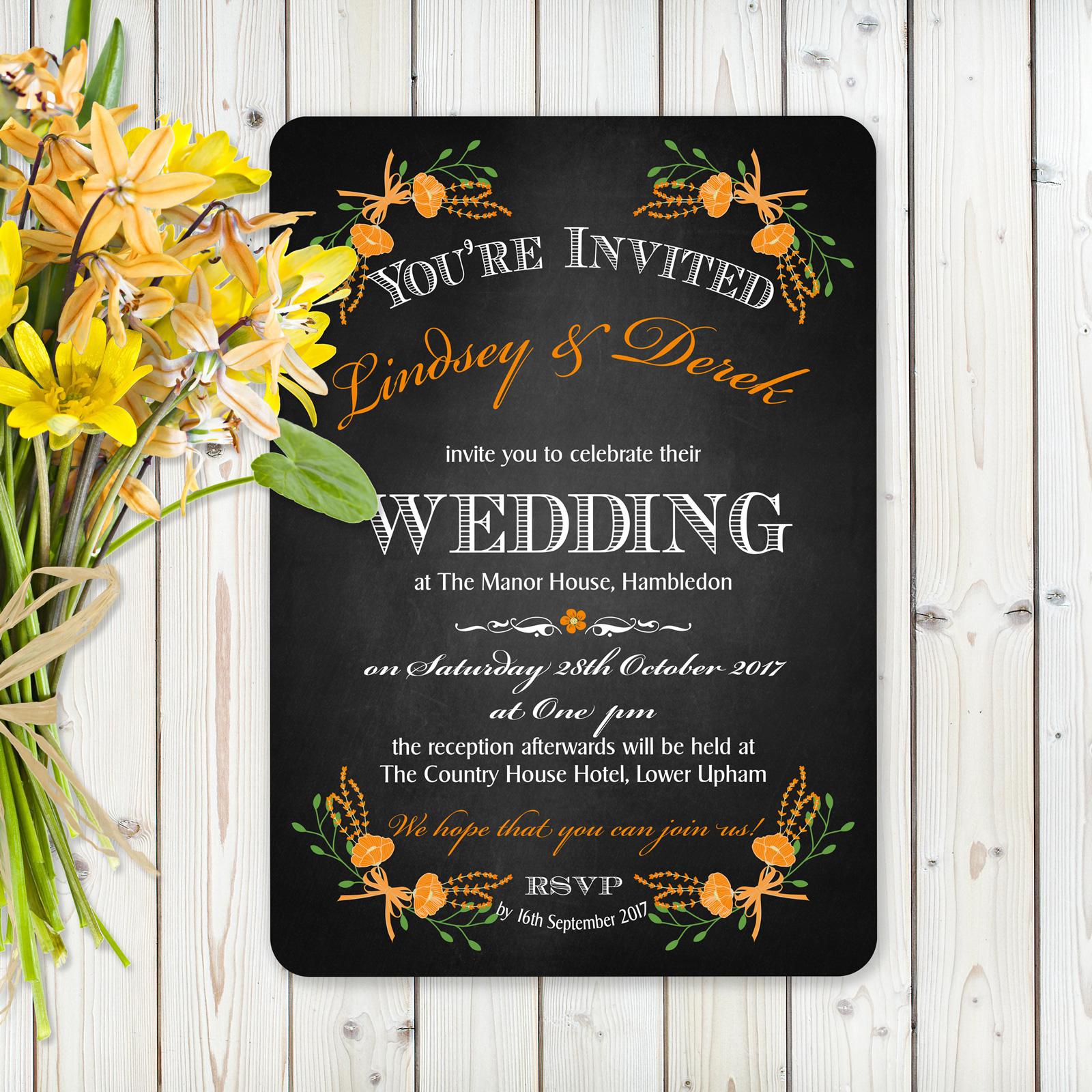 Floral Fantasy Orange on Chalkboard - Day Invitation