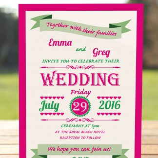 Wedding Fete Fuchsia Pink & Green - Day Invitation