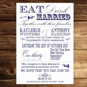 Vintage Fayre Navy on White Card - Day Invitation