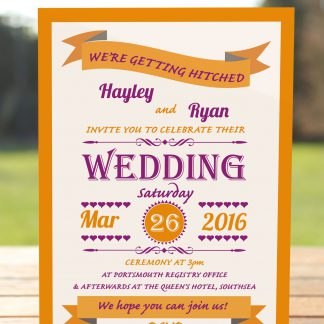 Wedding Fete Burnt Orange & Purple - Day Invitation