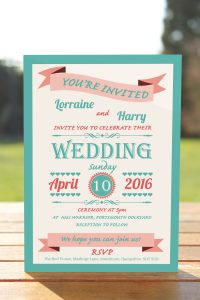 Wedding Fete Turquoise & Coral - Day Invitation