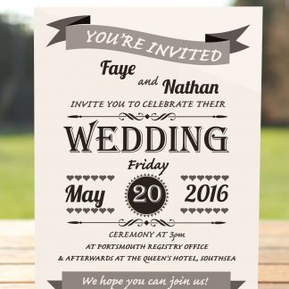 Wedding Fete on White Card - Day Invitation