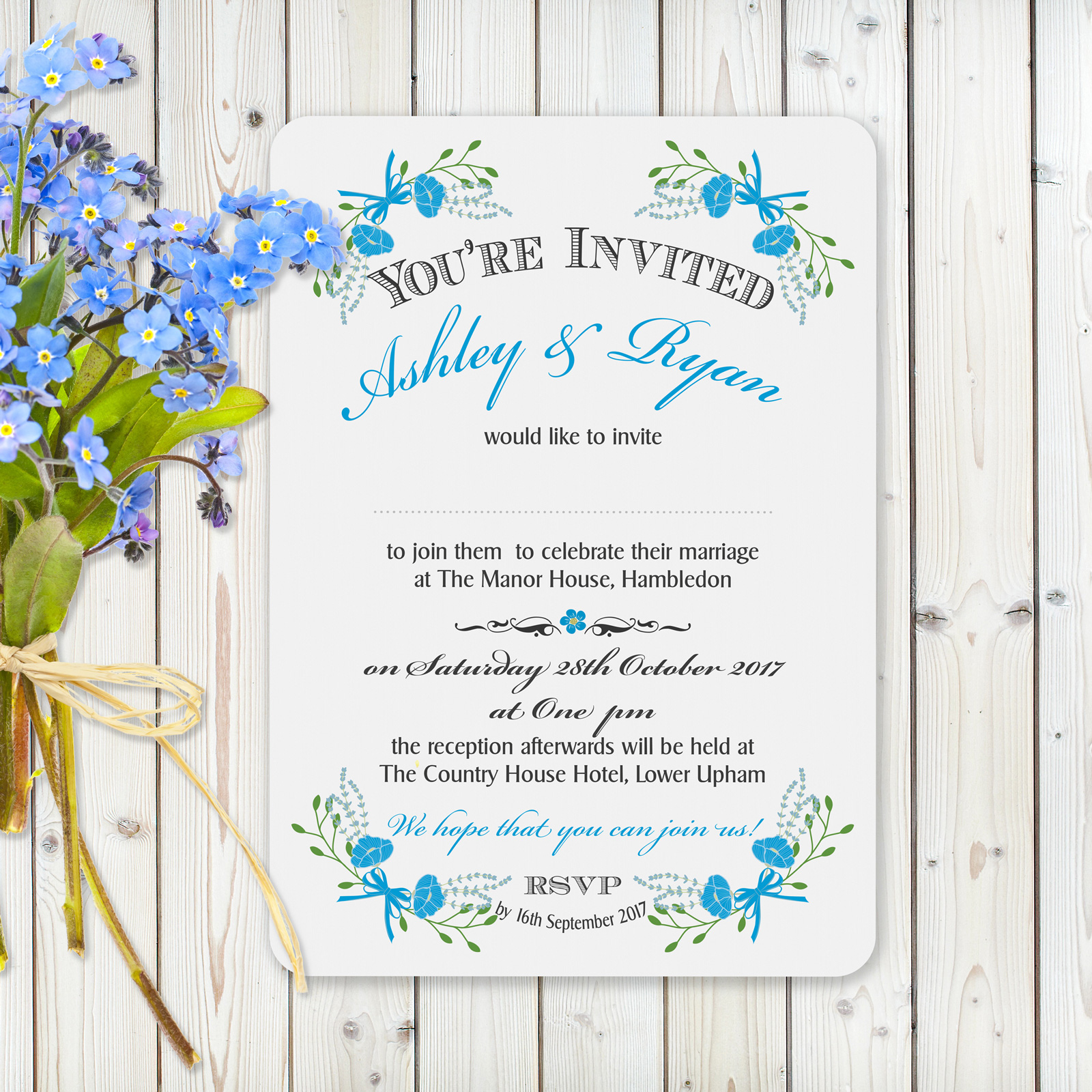 Fantasy Floral Blue White Card - Day