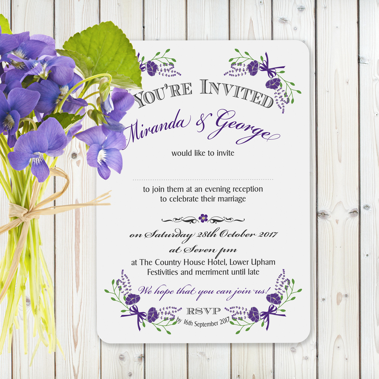 Floral Fantasy Purple on White Card - Evening Invitation