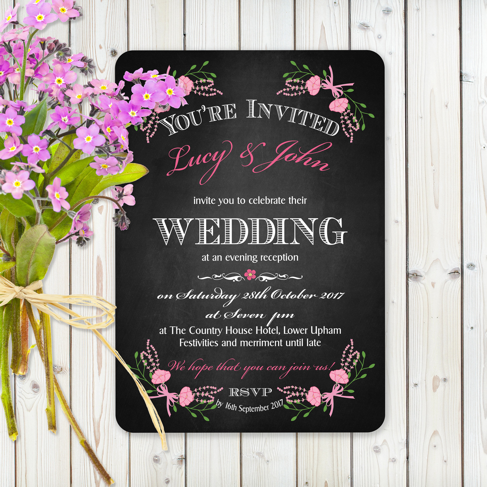 Floral Fantasy Pink on Chalkboard - Evening Invitation