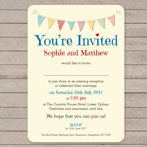 Festival on Ivory Card - Evening Invitation