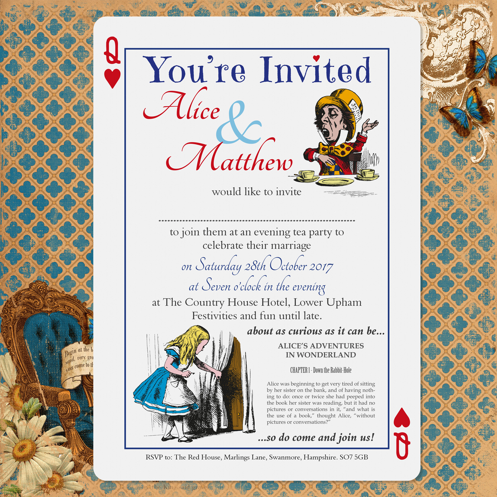 Vintage Alice on White Card - Evening Invitation