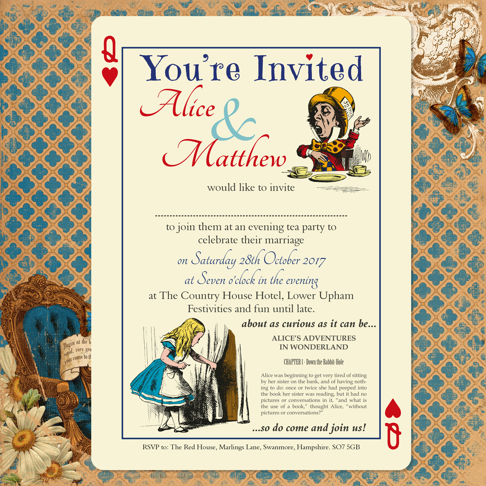 Vintage Alice on Ivory Card - Evening Invitation