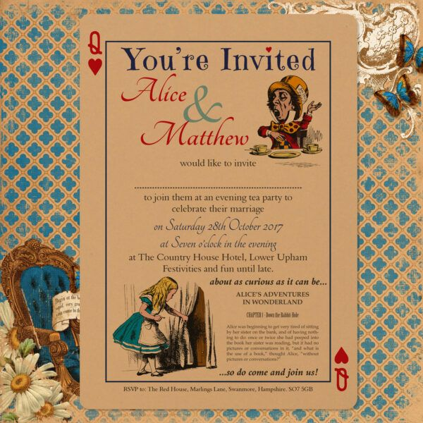 Vintage Alice on Buff Card - Evening Invitation