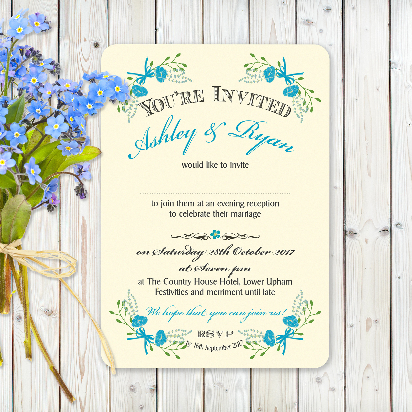 Floral Fantasy Blue on Ivory - Evening Invitation