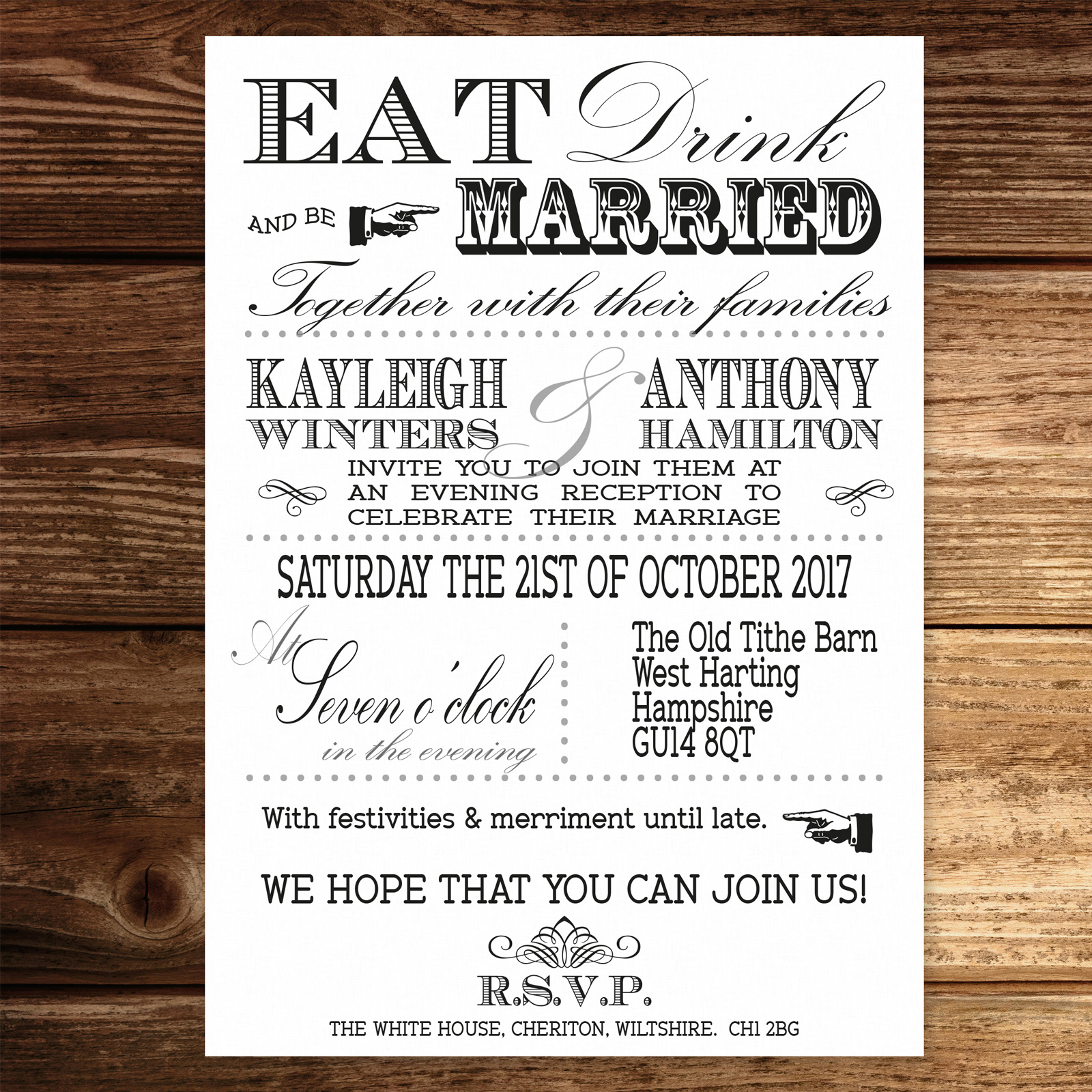 Vintage Fayre Black on White Card - Evening Invitation