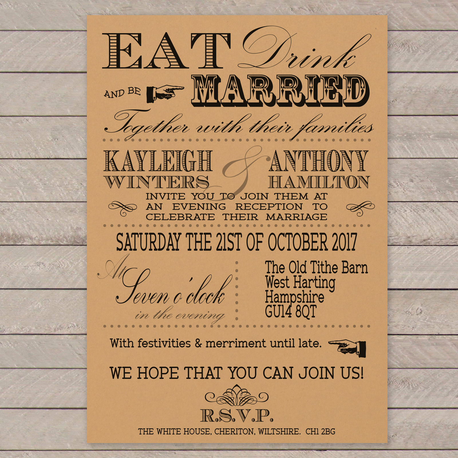Vintage Fayre Black on Buff Card - Evening Invitation