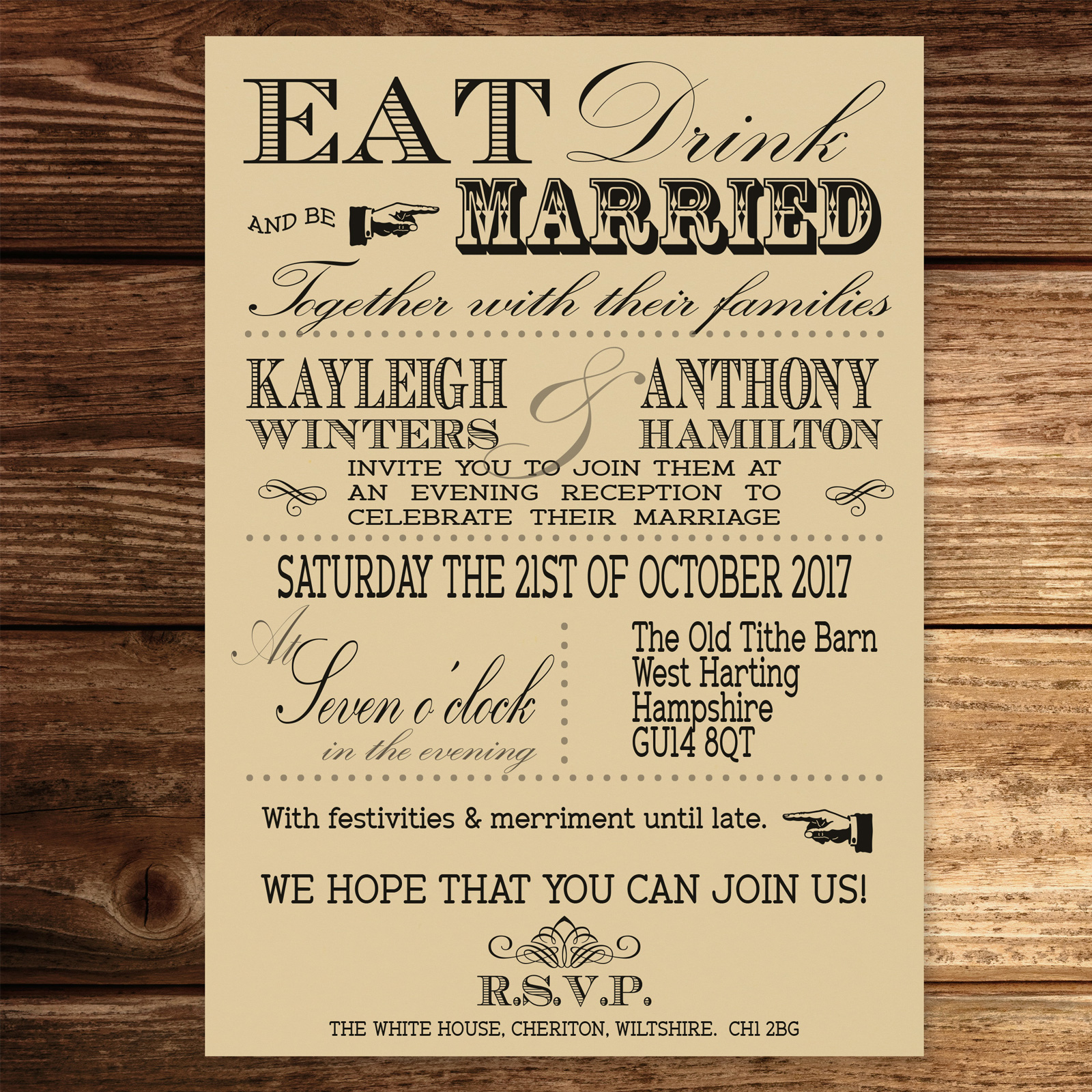Vintage Fayre on Ivory Card - Evening Invitation
