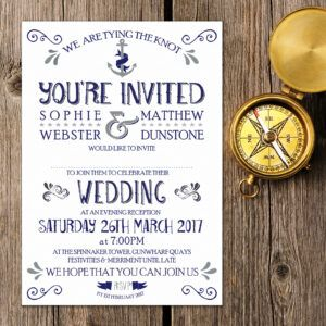 Nautical Blue and Silver on White Card - Evening Invitation