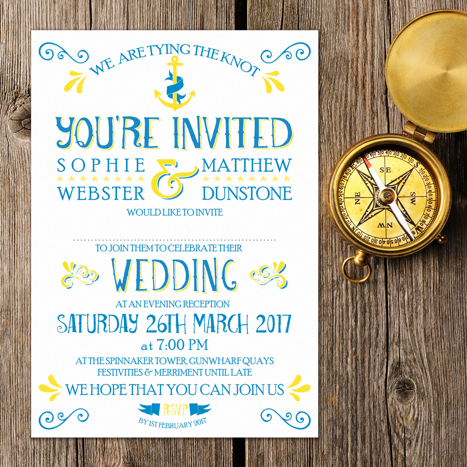 Nautical Blue and Yellow on White Card - Evening Invitation