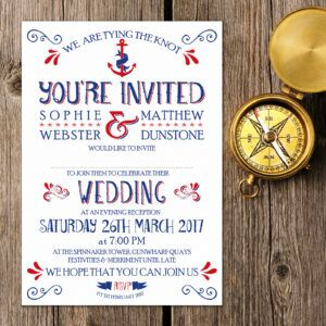 Nautical Blue and Red on White Card - Evening Invitation