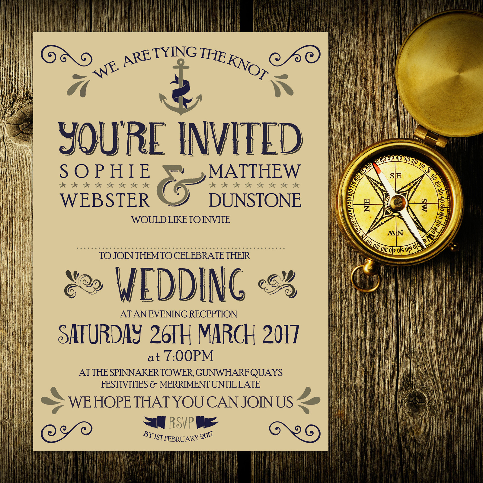 Nautical Blue and Silver on Ivory Card - Evening Invitation