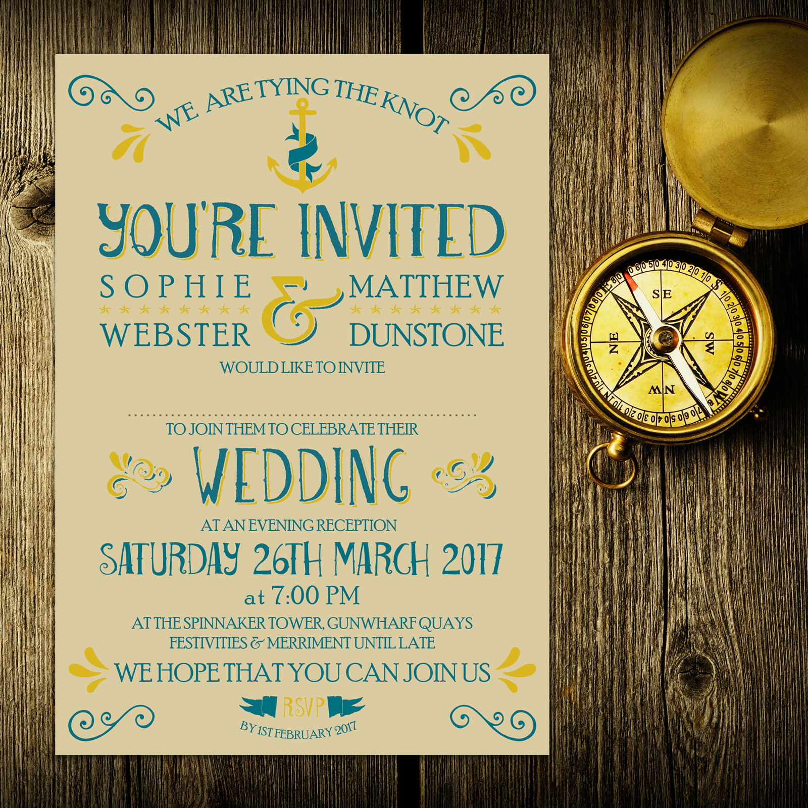 Nautical Blue and Yellow on Ivory Card - Evening Invitation