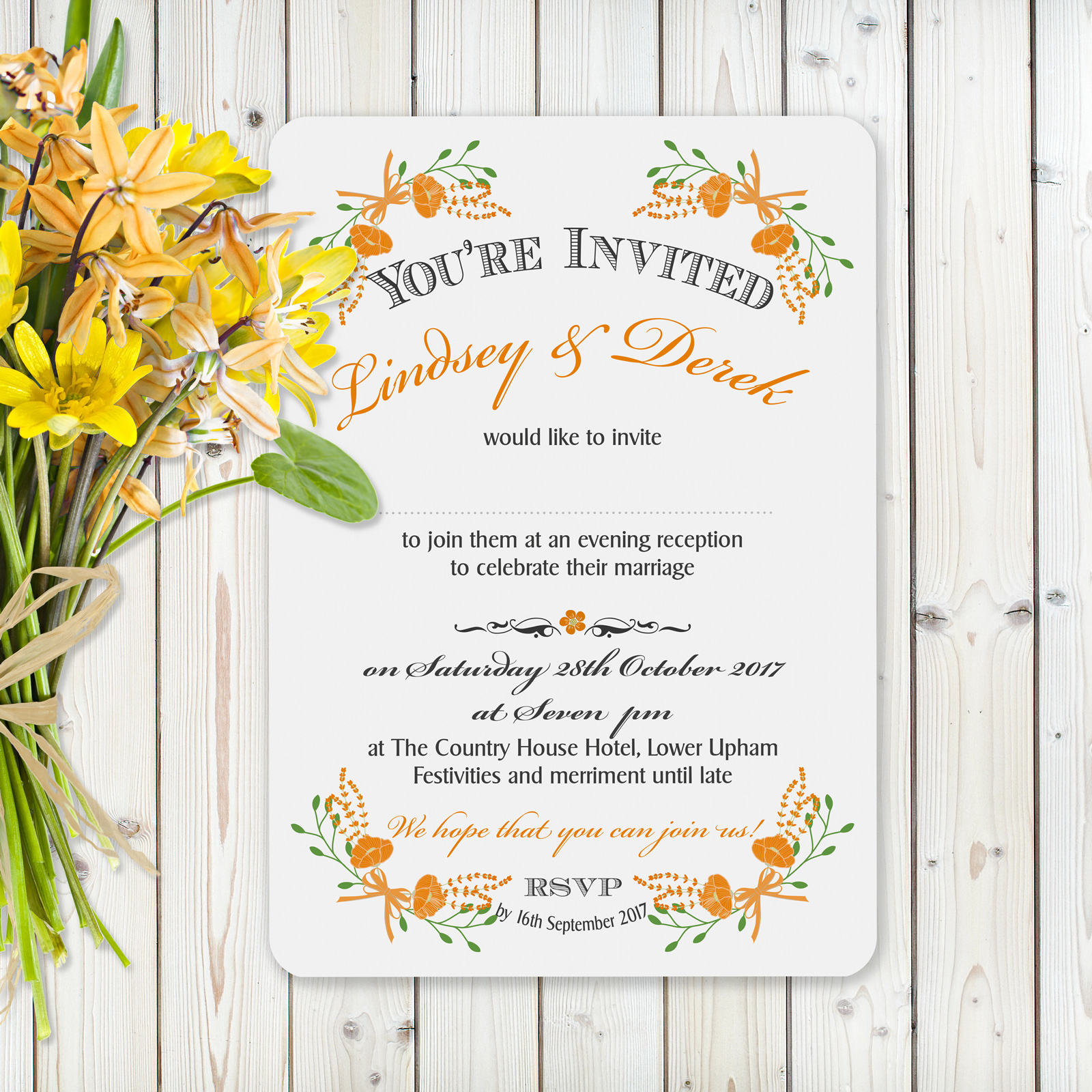 Floral Fantasy Orange on White Card - Evening Invitation