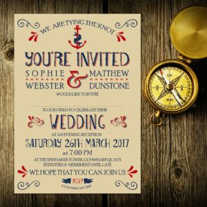 Nautical Blue and Red on Ivory Card - Evening Invitation