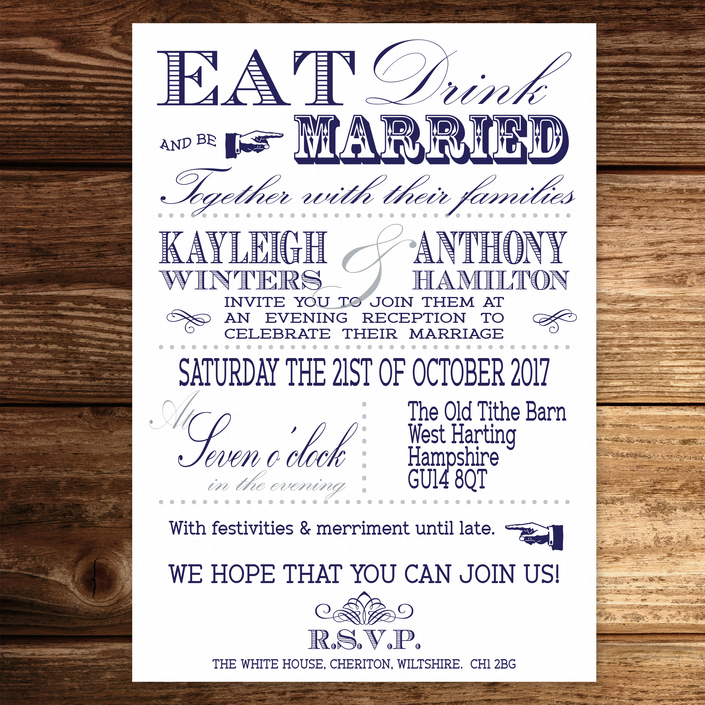 Vintage Fayre Blue on White Card - Evening Invitation